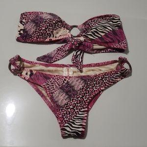 True Religion Purple Animal Print Bikini Sz M